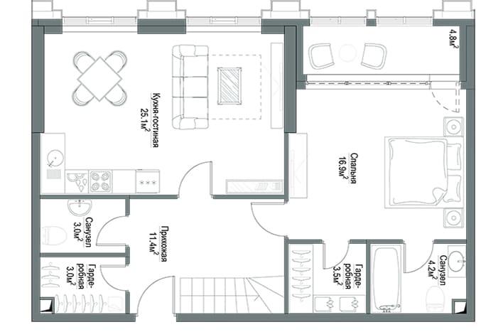 План квартиры 1 этаж
