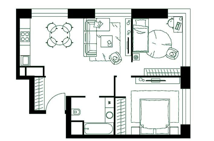 Апартаменты с отделкой. План