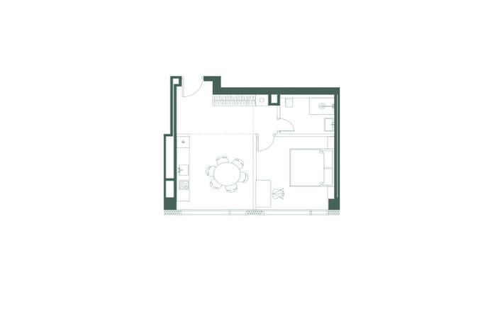 План квартиры однокомнатная