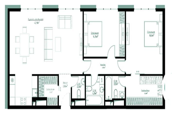 Квартира бизнес-класса. план