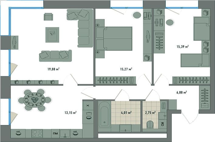 Квартира на Зорге. План. Трехкомнатная квартира на улице Зорге