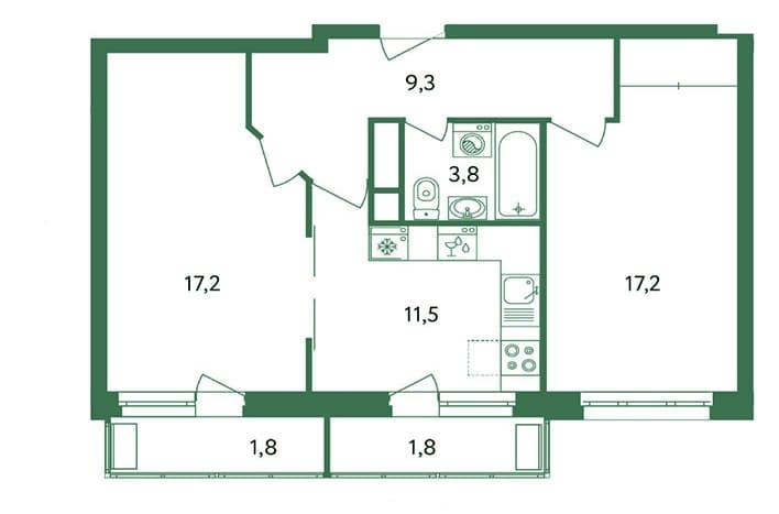 Двухкомнатная квартира на Молдагуловой