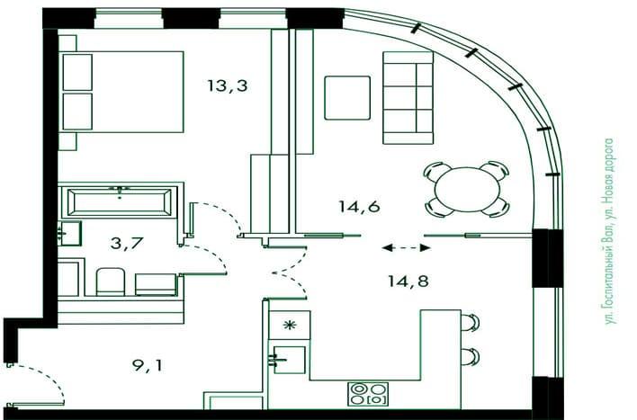 Двухкомнатная квартира в Лефортово
