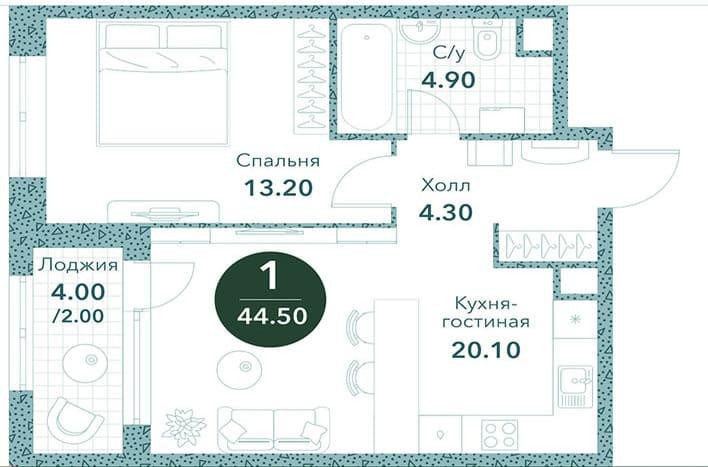 Квартиры на Новоалексеевской. Однокомнатная