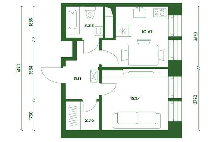 Однокомнатная квартира. Новостройка в Марьино