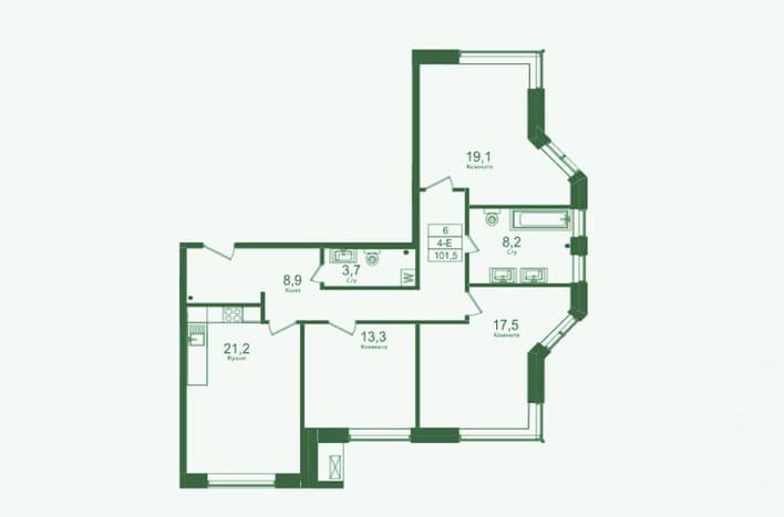 Трехкомнатная квартира на Матвеевской