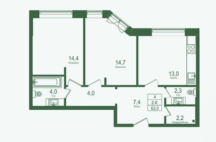 Двухкомнатная квартира на Нежинской